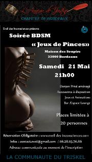160521 – Chapitre de Bordeaux – Samedi 21 Mai 2016 – 21h – Soirée BDSM – La Maison des Soupirs – 33000 BORDEAUX