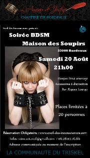 160820 – Chapitre de Bordeaux – Samedi 20 Août 2016 – 21h – Soirée BDSM – La Maison des Soupirs – 33000 Bordeaux