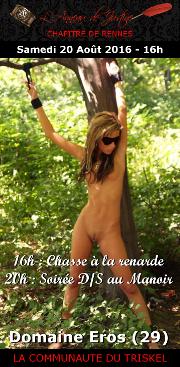 160820 – Chapitre de Rennes – Samedi 20 Août 2016 – 16h Chasse à la renarde – 20h Soirée D/S – Domaine Eros – Presqu'ile de Crozon (29)