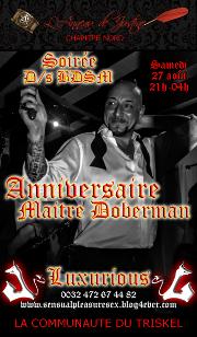 160827 – Chapitre Nord – Samedi 27 Août 2016 – 21h – Anniversaire de Maître Doberman – Le Luxurious – Charleroi