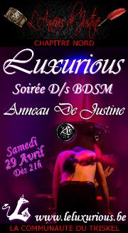170429 – Chapitre Nord – Samedi 29 Avril 2017 – 21h – Soirée Anneau de Justine – Luxurious – Gerpinnes ( Belgique)