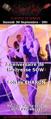 170930 – Chapitre de Rennes – Samedi 30 Septembre 2017 – 20h – Anniversaire de Maîtresse Sow et Soirée CHARON – Moulin de Maître George – 29 – Monts d'Arrée