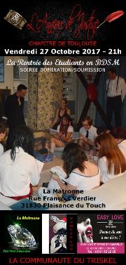 171027 – Chapitre de Toulouse – Vendredi 27 Octobre 2017 – 21h – Soirée D/S – La Matronne – 31830 Plaisance-du-Touch