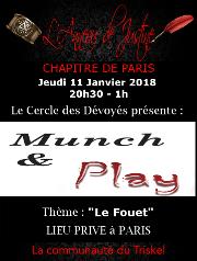 180111 – Chapitre de Paris – Jeudi 11 Janvier 2018 – 20h30 – Munch & Play – 75000 PARIS