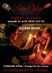 180421 – Chapitre de Rennes – Samedi 21 Avril 2018 – 21h – Soirée BDSM – Domaine EROS – Presqu'île de Crozon (29)
