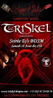 180818 – Chapitre Nord – Samedi 18 Août 2018 – 21h – Soirée D/s BDSM – Le Triskel Donjon