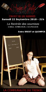 180922 – Chapitre de Rennes – Samedi 22 Septembre 2018 – 21h – Soirée D/s – Un très beau domaine entre Quimper et Brest