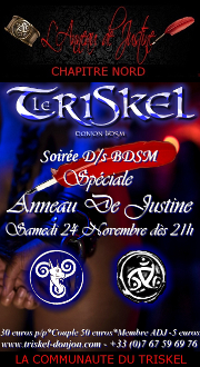 181124 – Chapitre Nord – Samedi 24 Novembre 2018 – 21h – Soirée spéciale ADJ – Le Triskel Donjon