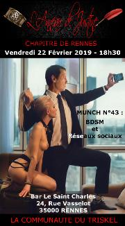 190222 – Chapitre de Rennes – Vendredi 22 Février 2019 – 18h30 – 43ème Munch de Rennes – Bar Le Saint Charles – 35000 RENNES