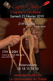 190223 – Chapitre d'Occitanie – Samedi 23 Février 2019 – 17h : Cours Shibari – 21h : Soirée Cordes – Le Privé – 34110 FRONTIGNAN