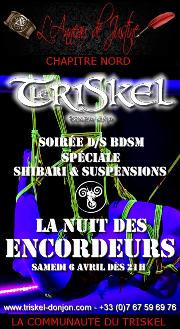 190406 – Chapitre Nord – Samedi 6 Avril 2019 – 21h – Soirée BDSM Shibari – Le Triskel Donjon