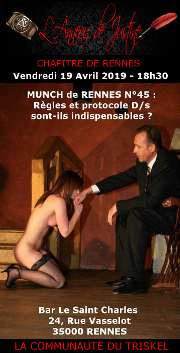 190419 – Chapitre de Rennes – Vendredi 18 Avril 2019 – 18h30 – 45ème Munch – Bar Le Saint Charles – 35000 RENNES