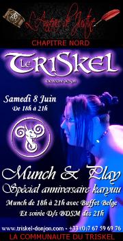 190608 – Chapitre Nord – Samedi 8 Juin 2019 – Munch&Play'- Soirée D/s BDSM – Le triskel Donjon
