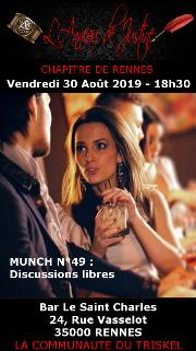 190830 – Chapitre de Rennes – Vendredi 30 Août 2019 – 18h30 – 49ème Munch de Rennes – Bar Le Saint Charles – 35000 – RENNES