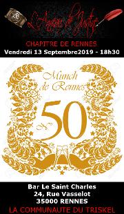 190913 – Chapitre de Rennes – Vendredi 13 Septembre 2019 – 18h30 – 50ème Munch de Rennes – Bar Le Saint Charles – 35000 RENNES