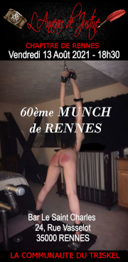 210813 – Chapitre de Rennes – Vendredi 13 Août 2021 – 18h30 – 60ème Munch – Bar Le St Charles – 35000 RENNES